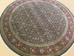 6and039.0 X 6and039.0 Round Navy Blue Red Fine Geometric Oriental Rug Hand Knotted Foyer