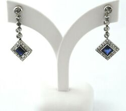 Antique Style Earrings 18k White Gold Diamonds And Blue Sapphires