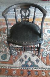 Hand Carved Chair With Leather Seat Late 19th Century