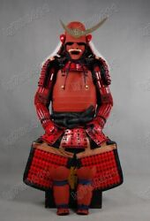 Red Collected Iron And Silk Japanese Art Samurai Armor Wearable Suit