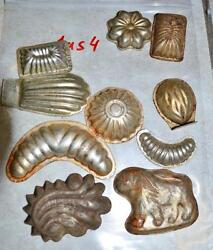 Antique German Small Tin Vintage Candy Molds/ Tart Molds 1us4