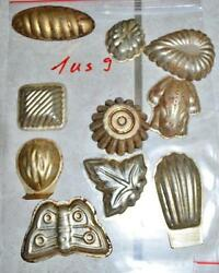 Antique German Small Tin Vintage Candy Molds/ Tart Molds 1us9