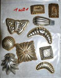Antique German Small Tin Vintage Candy Molds/ Tart Molds 1us21