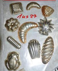 Antique German Small Tin Vintage Candy Molds/ Tart Molds 1us27