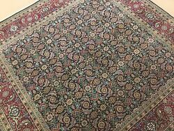 6and039.0 X 6and039.2 Square Navy Blue Rust Fine Geometric Oriental Rug Handmade Foyer