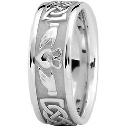 New Ladies 14k White Gold Claddagh Celtic Wedding Band Ring 8mm Size 6