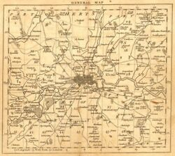 London. 15 Miles Around London. General Index Map. Cary. 1786 Old Antique