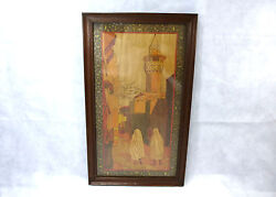 Xxl Art Nouveau Picture With Brand Painting Inlaid France About 1900 Oriental