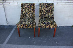 Elegant Pair Of Modern Mahogany Spring Side End Chairs C. 1940 New Upholstery