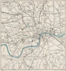 Central London Railway And Road Map. Tube Underground. Ward Lock 1951 Old