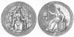England. Queen Anne Seal After Union With Scotland 1845 Old Antique Print