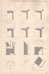 Victorian Engineering Drawing. Cast Shadows Projection. Prisms And Cylinders 1876
