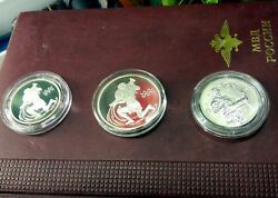 Three Kinds Of Russian Coins Rubles Zodiac Aquarius 2003, 2004 And 2005. Silver.