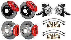 Wilwood Disc Brake Kit And Drop Spindles63-70 Chevy C10gmc C1512 Rotorsred