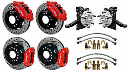 Wilwood Disc Brake Kit And Drop Spindles63-70 Chevy C10gmc C1512 Drilledred