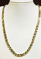 14k Solid Yellow Gold Handmade Mariner Link Menand039s Necklace 22 6.5 Mm 46 Grams