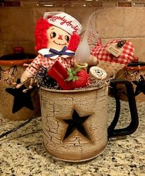 Primitive Country Coffee Tea Pot Kitchen Gathering Tuck Raggedy Ann Doll Candle