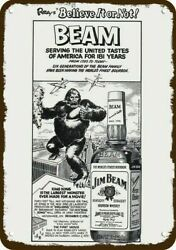 1976 Jim Beam Whiskey And Ripley's And King Kong Vintage Look Replica Metal Sign