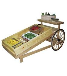 Produce Slanted Wood Cart With Authentic Amish Wagon Wheels Production 4 Day