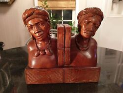 Pair Of Hand Carved Wood Book Ends