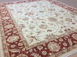 8'.3 X 10'.0 Beige Red Ziegler All-over Oriental Area Rug Hand Knotted Wool