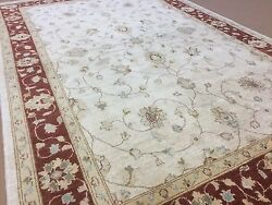 5and039.9 X 8and039.10 Beige Red Fine Ziegler Oriental Area Rug Hand Knotted Wool Foyer