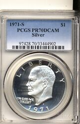 1971-s Silver Ike Dollar Pr70dcam Perfect White, No Toning