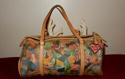 Dooney& Bourke Multi-Color Candy Print Coated CanvasLeather Barrel Bag
