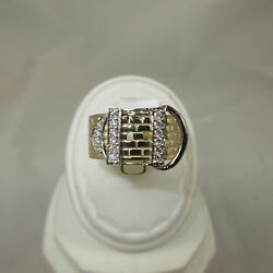 14K Yellow & White Gold 2-tone Design Ring With 16=.33 Diamonds Belt Buckle