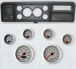 73-79 Ford Truck Black Dash Carrier W/ 3-3/8 Concourse Series Silver Gauges