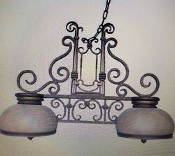 Custom 4' Chandelier, rustic gold finish, two large lamps.