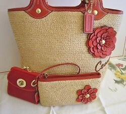 Coach 3pc Vermilion Red Leather Straw Tote Wallet Wristlet Bleecker MINT