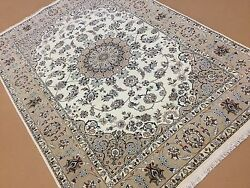 5and039.1 X 7and039.2 Floral Beige Fine Oriental Area Rug Hand Knotted Wool And Silk
