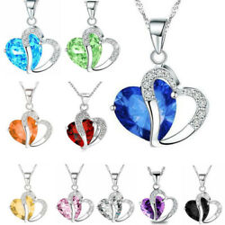 Mother#x27;s Day For Women Heart Crystal Rhinestone Silver Chain Pendant Necklace $6.74