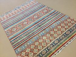 Oriental Area Rug Geometric Hand Knotted Wool Multicolor 5'.8 X 8'.7