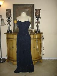 NWT Black Dark Blue Sparkely Designer PromBridesmaidsFormalParty Gown Small