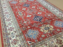 5and039.9 X 8and039.2 Red Beige Very Fine Geometric Oriental Rug Hand Knotted Wool