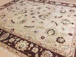 7and039.9 X 9and039.4 Light Brown Fine Oriental Area Rug Hand Knotted Wool All-over