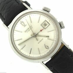 Vintage Beacon Hill Incabloc Teriam 17-jewel Date Alarm Stainless Leather Watch