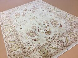 8'.2 X 11'.3 Beige Red Fine All Over Oriental Area Rug Hand Knotted Wool