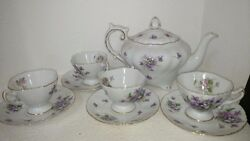 Rossetti Spring Violets Fine China Teapot And 4 Teacups Made In Occupied Japan