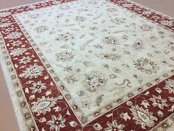 8'.0 X 10'.0 Beige Red Oushak All-over Oriental Area Rug Hand Knotted Wool