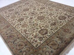 8and039.0 X 10and039.1 Beige Green Floral All-over Oriental Area Rug Hand Knotted Wool