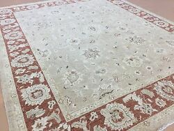 8and039.1 X 9and039.11 Tan Rust Oushak All-over Oriental Area Rug Hand Knotted Wool
