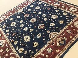 8'.10 X 8'.11 Square Navy Blue Floral All-over Oriental Rug Hand Knotted Wool