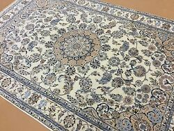 5'.10 X 8'.11 Ivory Beige Fine Wool And Silk Floral Oriental Rug Hand Knotted