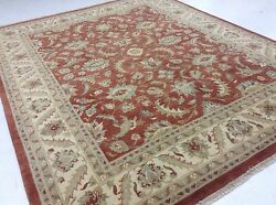 8and039.2 X 10and039.0 Rust Ivory Classic All-over Oriental Area Rug Hand Knotted Wool