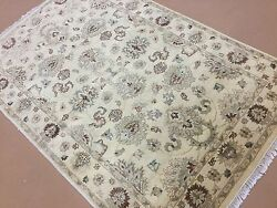 4and039.0 X 6and039.1 Beige Rust Ziegler Floral Oriental Area Wool Rug Handmade Foyer