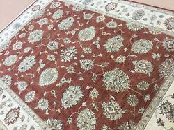 7'.11 X 10'.2 Rust Beige Ziegler All-over Oriental Area Rug Hand Knotted Wool