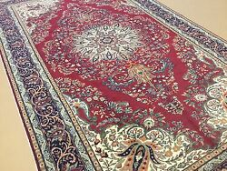 6and039.3 X 10and039.3 Red Navy Blue Turkish Kayseri Oriental Area Rug Hand Knotted Wool